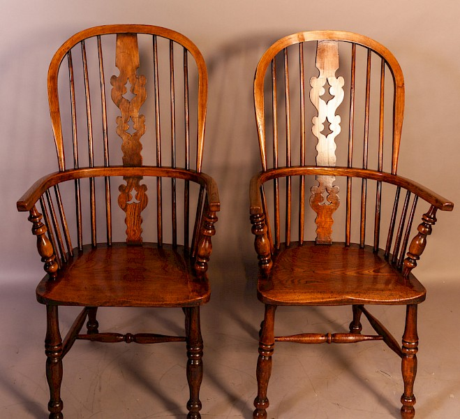 A Matching Pair of Ash and Elm Windsor Chairs