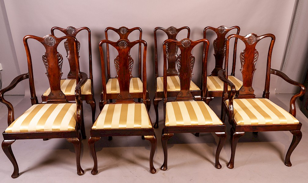 A Set of 8 late 19th century Queen Ann Style Chairs