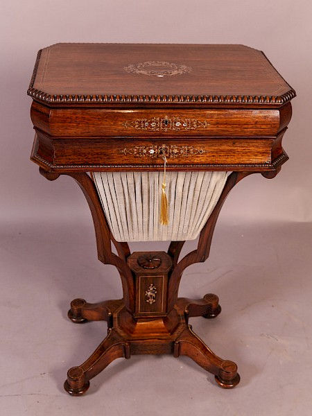Early Victorian Ladies Sewing Table Rosewood