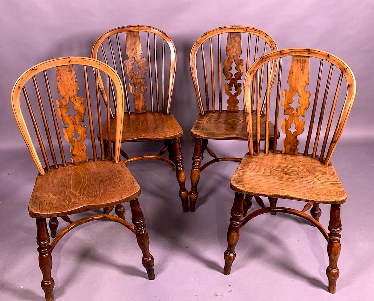 Fantastic Set of 4 Yew Wood Allsop of Worksop Kitchen Chairs