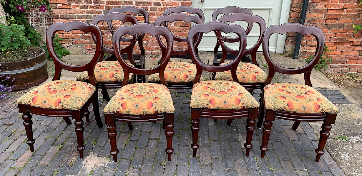 A Set of 10 Victorian Mahogany Balloon Back Dining Chairs c1860