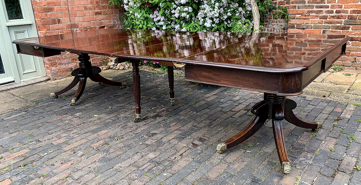 Rare Regency Period Twin Pillar Dining Table