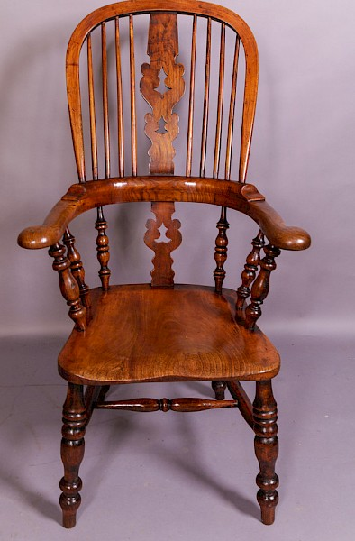 A Good Victorian Broad Arm Windsor Chair