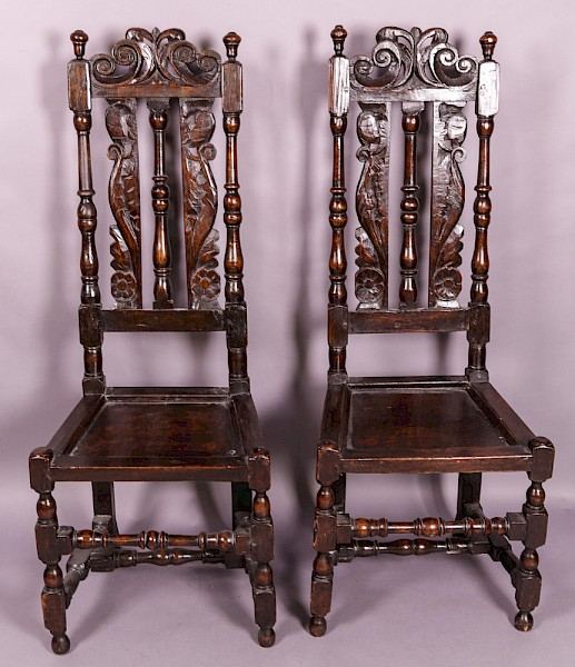 A Good Pair of 17th century back stool chairs