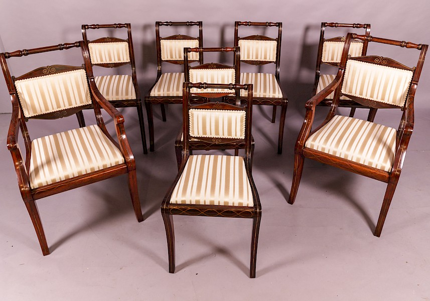 A Good set of 8 Regency brass inlaid dining chairs c 1820