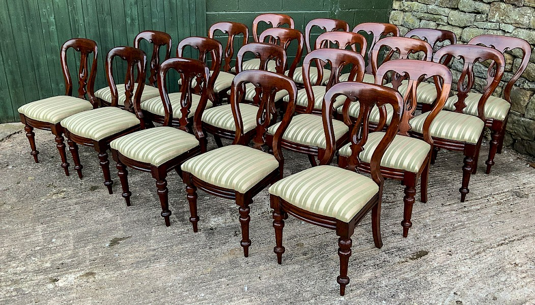 A Rare Set of 20 Spear Point Balloon Back Dining Chairs