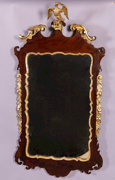 A George II Mahogany and Parcel Gilt Mirror