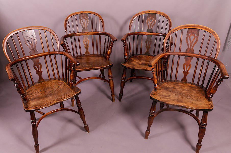 A Set of 4 Yew Wood Low Windsor Chairs