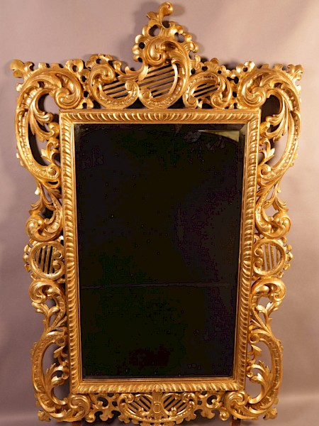 Very Good Large 19th century Carved Wood Mirror large