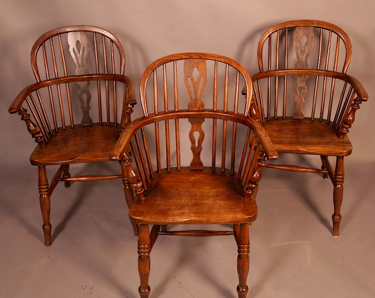 Matching Set of 3 Low Back Windsor Chairs