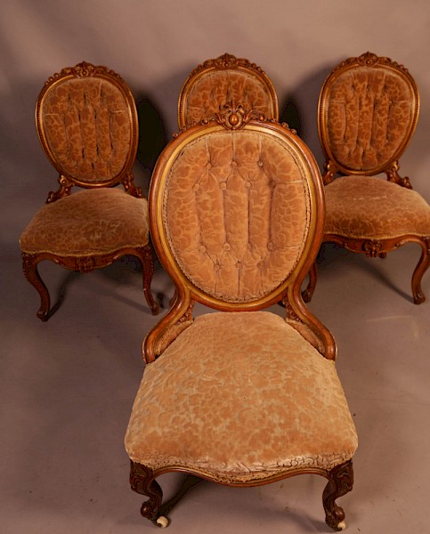 Superb set of High Victorian Walnut Chairs with Gold highlights