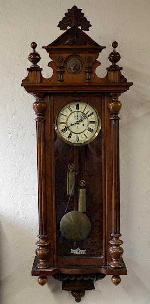 A Nice Vienna Weight Driven Wall Clock by Gustave Becker