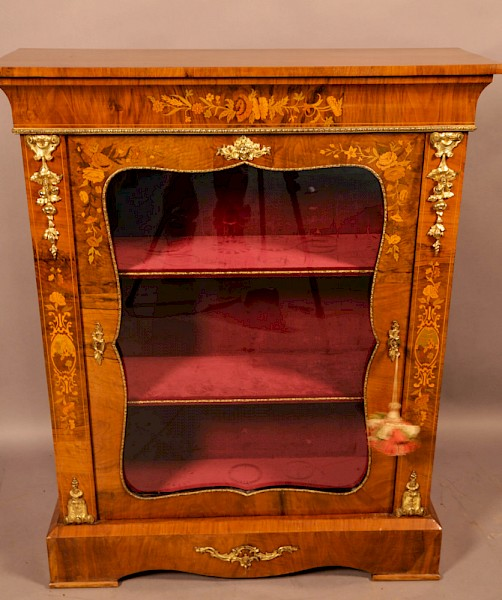 A Victorian Pier Cabinet in Burr Walnut with Inlay