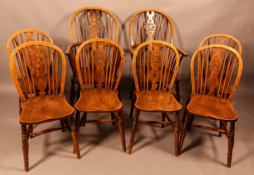 A Rare set of Kitchen Windsor Chairs c 1920