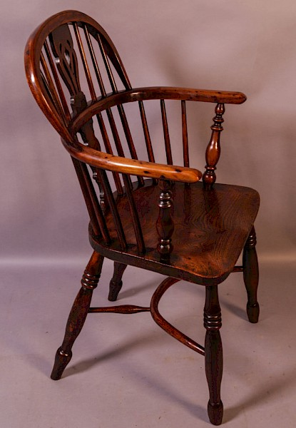 A Yew Wood Low Windsor Chair by Elizabeth Gabbitass